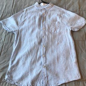 Onia Seersucker Beach Button-up Short Sleeve Shirt